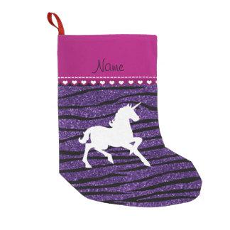 Name white unicorn purple glitter zebra stripes small christmas stocking