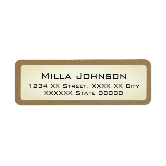 name with brownish border return address label