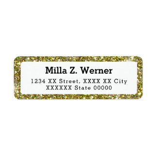 name with faux gold glitter return address label