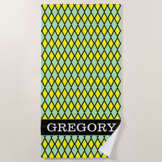Name + Yellow and Green Diamond Shape Pattern Beach Towel