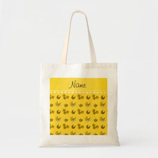 Name yellow baby bib blocks carriage booties budget tote bag