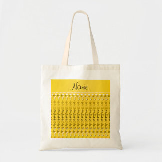 Name yellow baby bottle rattle pacifier stork budget tote bag
