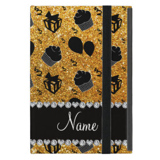 Name yellow glitter cupcakes balloons presents cover for iPad mini