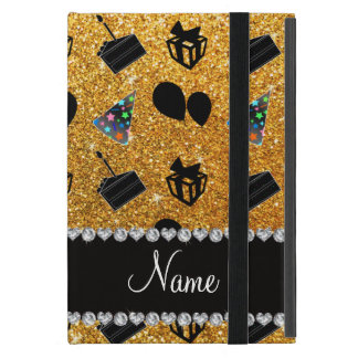 Name Yellow glitter hats cake presents balloons Covers For iPad Mini