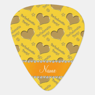 Name yellow gold hearts bachelorette party guitar pick