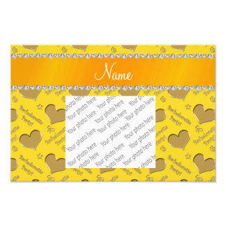 Name yellow gold hearts bachelorette party photo