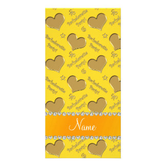 Name yellow gold hearts bachelorette party photo cards