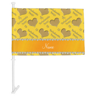 Name yellow gold hearts bachelorette party car flag