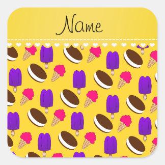 Name yellow ice cream cones sandwiches popsicles square sticker