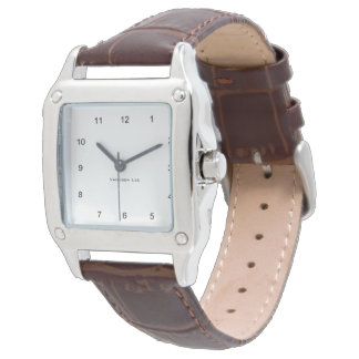 Name Your Square Brown Leather Strap Wristwatches