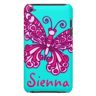 Named (6 letter) butterfly aqua pink ipod case