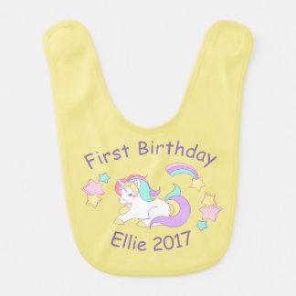 Named and Year Unicorn Baby Bib