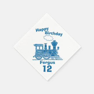 Named blue train boys 12th birthday napkins paper napkin