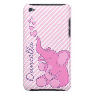 Named cute pink elephant ipod touch case