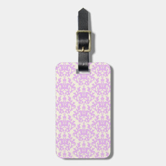Named damask lilac & cream luggage tag