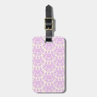 Named damask lilac & cream luggage tag