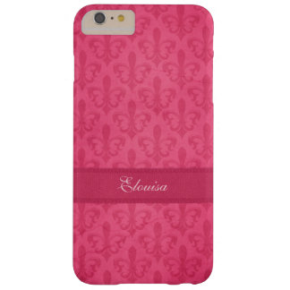 Named Fleur de Lis damask pink iphone 6 case Barely There iPhone 6 Plus Case
