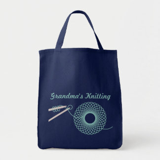 Named knitting dark teal bag