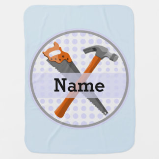 Named Personalized Tools design for boys. Baby Blanket