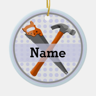 Named Personalized Tools design for boys. Ceramic Ornament