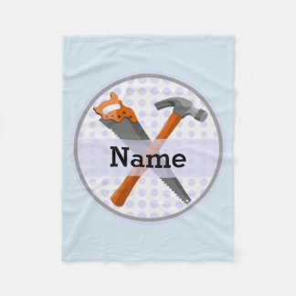 Named Personalized Tools design for boys. Fleece Blanket