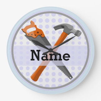 Named Personalized Tools design for boys. Large Clock
