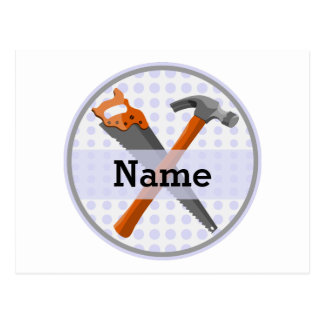 Named Personalized Tools design for boys. Postcard