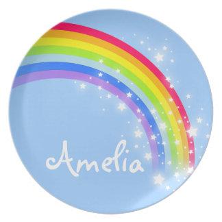"""Named"" rainbow blue kids plate"