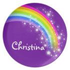 """Named"" rainbow purple pink girls kids plate"