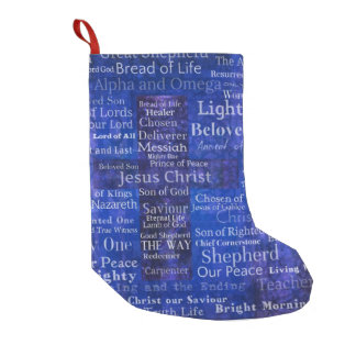 Names and titles of Jesus BLUE CROSS ART Small Christmas Stocking