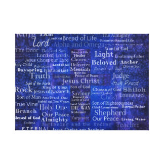 Names and titles of Jesus BLUE CROSS PRINT Gallery Wrap Canvas
