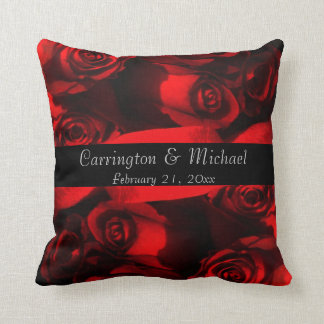 Names/Anniversary - Crimson Rose Bouquet [a] Throw Pillow