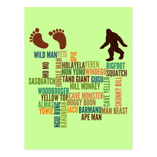 Names For Bigfoot Post Cards