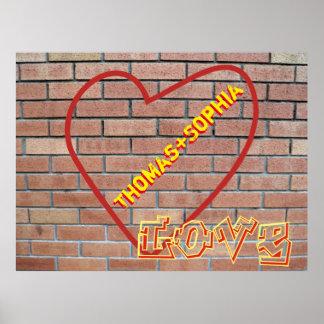Names in Heart Love Graffiti Brick Wall Art Poster