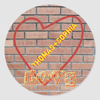 Names in Heart Love Graffiti Brick Wall Art Round Round Sticker