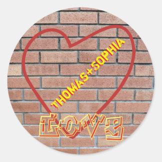 Names in Heart Love Graffiti Brick Wall Art Round Round Stickers