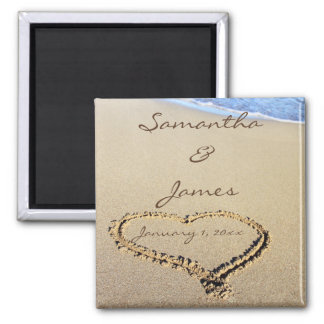Names in the Sand Personal Wedding Magnet