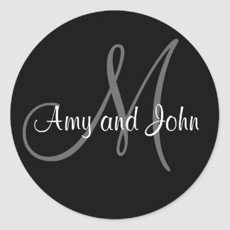 Names & Initial Monogram Wedding Sticker Black