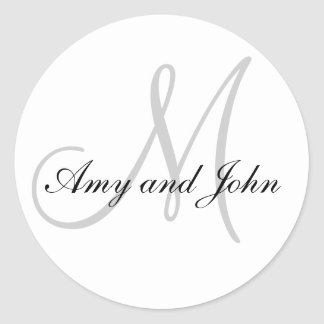 Names & Initial Monogram Wedding Sticker White