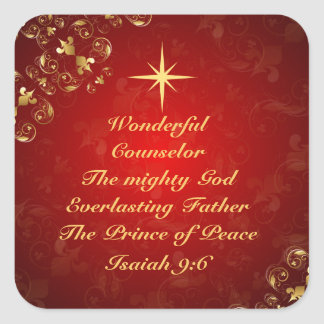 Names of God Bible Verse Isaiah 9:6, Christmas Square Sticker