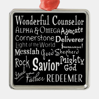 Names of God from the Bible in Black and White Metal Ornament