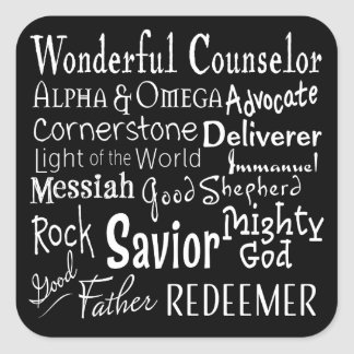 Names of God from the Bible in Black and White Square Sticker