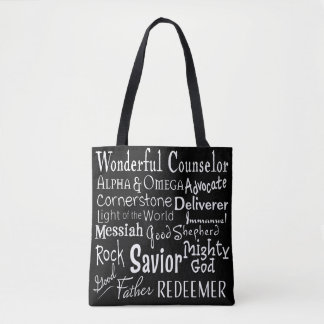 Names of God from the Bible in Black and White Tote Bag