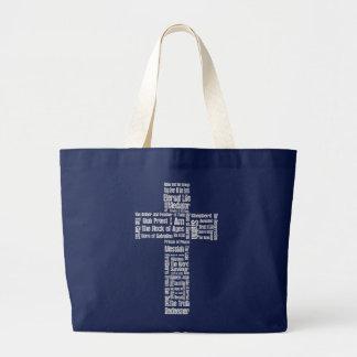 Names of Jesus Cross Large Tote Bag