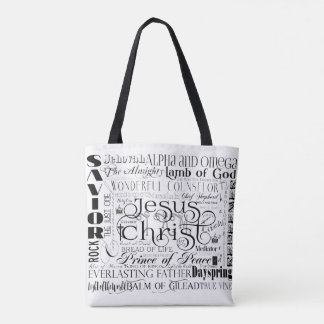 Names of Jesus Typography Tote Bag