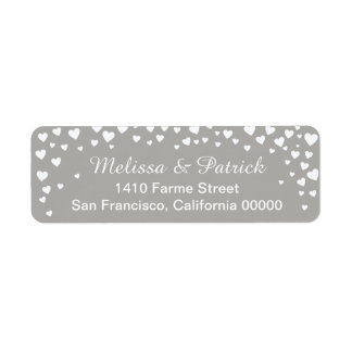 names with love hearts confetti on gray wedding return address label