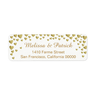 names with love hearts confetti on white wedding return address label