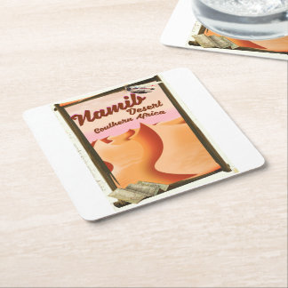 Namib Desert, Southern Africa travel poster Square Paper Coaster