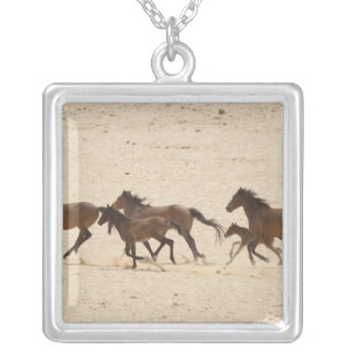 Namibia, Aus. Group of running wild horses on Square Pendant Necklace