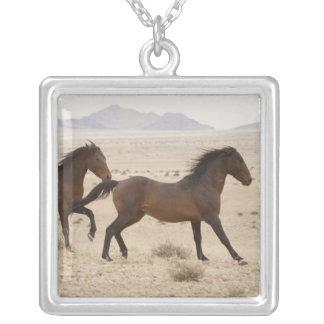 Namibia, Aus. Wild horses running on the Namib Square Pendant Necklace